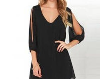 Black Mini Open Sleeve Dress