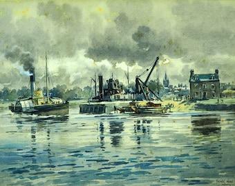 Frank Watson Wood (GB 1862–1953) Harbor Scene Watercolour