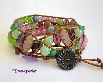Pastel Bohemian wrap leather bracelet, bracelet leather 3 laps Amethyst pink purple violet green