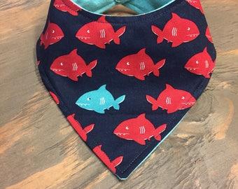 Baby Bandana Bib, Cool 2 Drool Bib, Baby / Toddler Bandana Bib, Drool Bib, Fashion Bibdana, Fish, Red Fish Blue Fish, Fishing