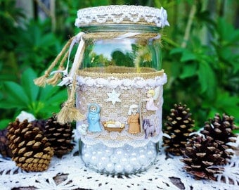 Nativity Mason Jar, Christmas Mason Jar,  Christmas Centerpiece, Rustic Christmas, Christmas Gift, Nativity Gift, Rustic Metal Cross