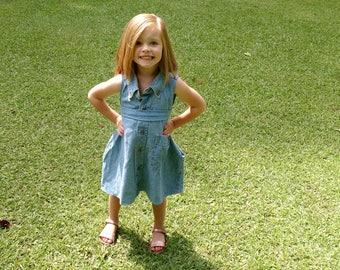 Daddy's Shirt Dress-Dress for Daughter Made from Men's Button Up Shirt