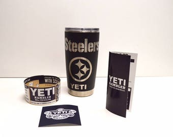 Custom Powder Coated YETI Matte Black Steelers 20oz