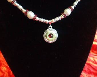Pearl Hart Garnet Gem and Pearl Necklace
