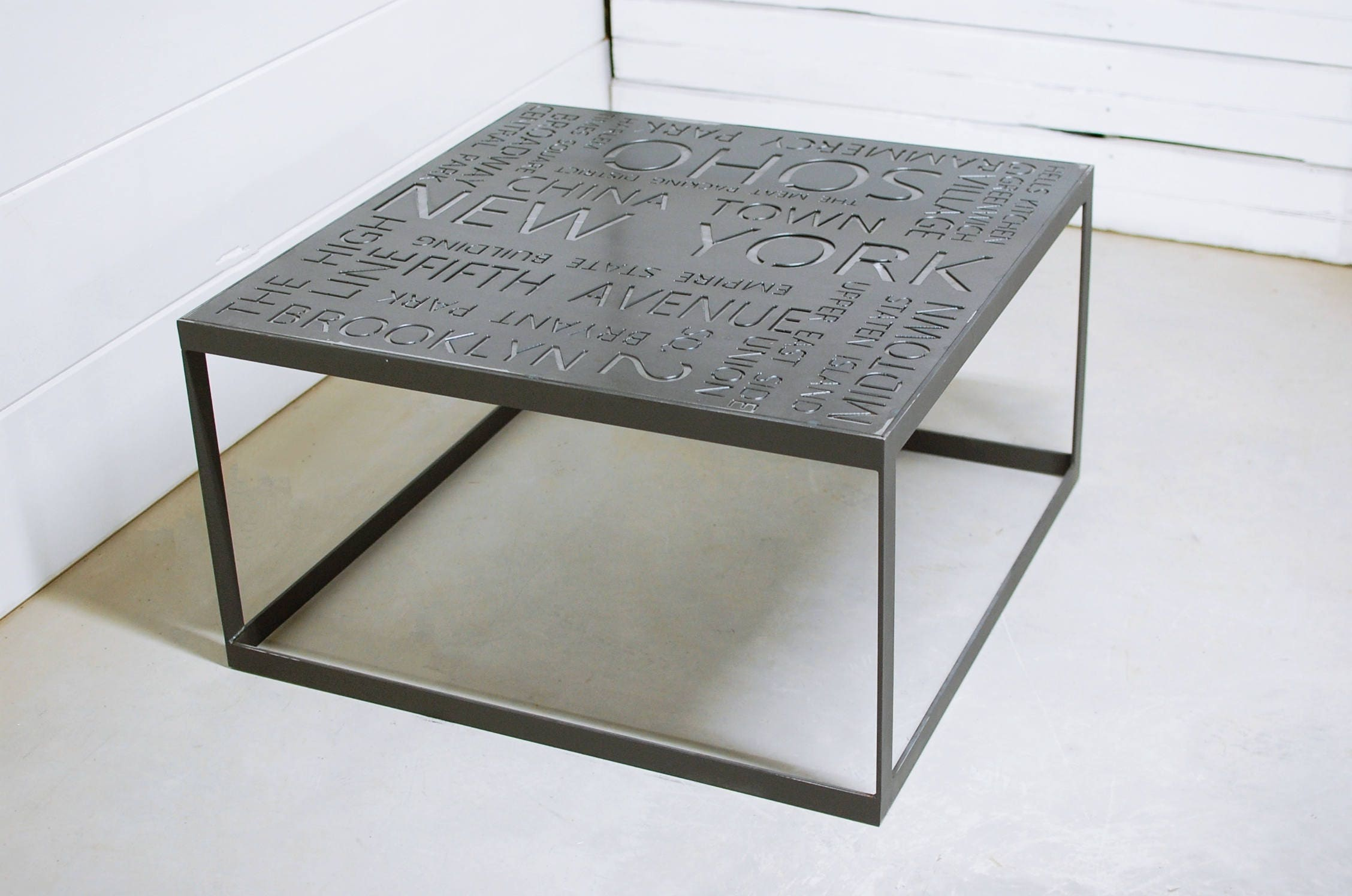 New york city art industrial coffee table custom metal sign zoom geotapseo Image collections