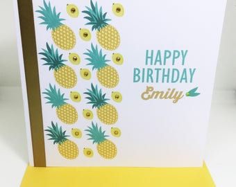 Personalised Handmade Pineapple and Lemons Birthday Card 16th, 18th, 21st, 30th