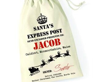 Personalised Santa Express 1 Santa Sack Xmas Present Stocking Drawstring Custom Printed Keepsake Tumblr Pintrest