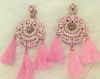 Handmade Dreamcatcher Soutache Tassel Bohemian Style earrings, Summer Earrings, large earrings, cotton tassel earrings, soutache earrings