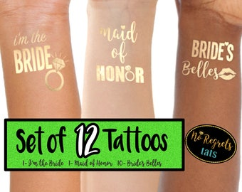 Bachelorette Party Gold Tattoos / Bachelorette Party Favors / Maid of Honor southern belle party favor / tattoo bride / unique tattoo