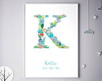 Nursery Decor, Bedroom Decor, For Baby Room, Children Room Art, Children Room Prints, Kayla, Kimberly, Katherine, Birthday