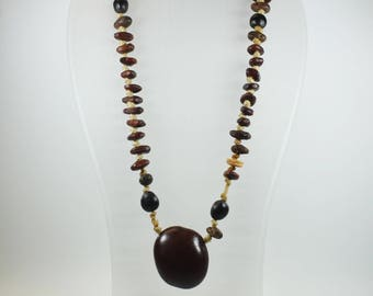 Boho Style Wood and Seed Beaded Necklace