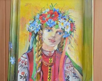 Portrait of a Ukrainian girl. Ukrainian girl. Ukrainian art. Acrylic painting. Original folk Ethnic art ukrainian style