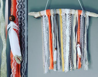 Coral beige Bohemian wall hanging