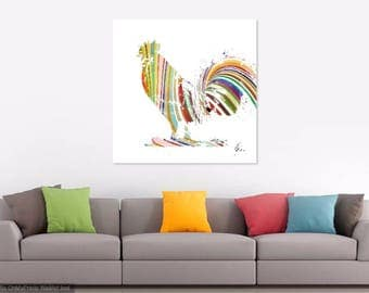 Pepper Rooster Canvas Print Signed and Named. Chicken Rooster Art Animal Print Rainbow Colours Bright Funky Art Abstract Chicken