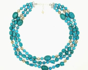 "18""- 19"" Tripple stranded Magnesite necklace"