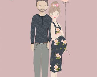 Custom Illustrated Pregnancy Announcement Portrait *DIGITAL DOWNLOAD*