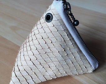 Triangle effect snake engraved beige leather wallet.