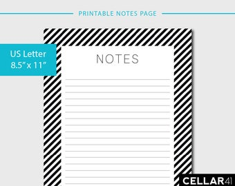 Printable Notes Page, Printable Planner Inserts, Lined Notes Page, Stripes, Printable Notebook Pages, Minimalist, INSTANT DOWNLOAD