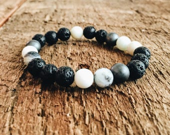 Essential oil bracelet, Amazonite beaded bracelet, diffuser bracelet, stretch bracelet,Lava bead bracelet, unisex, boho, aromatherapy,