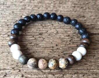 Jasper stone bracelet, Lava bead bracelet, Essential Oil Bracelet, diffuser bracelet, wood bracelet, stretch bracelet, boho, boho chic
