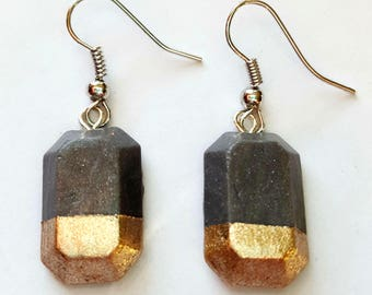 Minimalist Earrings, Faux Concrete & Gold Earrings, Industrial Earrings, Emerald Cut