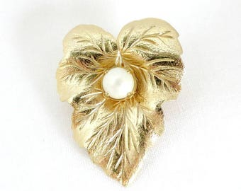 Sarah Coventry Leaf Brooch, Vintage 1960s Faux Pearl Gold Tone Pin Gift for Her