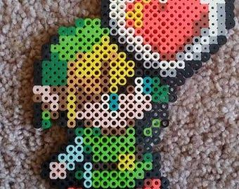 Legend of Zelda Link Life Heart Perler Bead Art 5.5x4.5 in