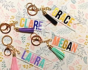 Monogram Keychain//Christmas Gift//Custom Keychain//Personalized Keychain//Acrylic Keychain//Gift For Her//Birthday Gift//Banner Keychain