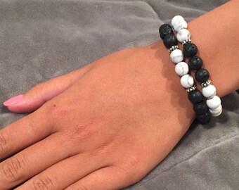 Lava Stone and Howlite Stretch Bracelet