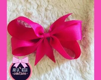 Custom hot pink bow hair clip