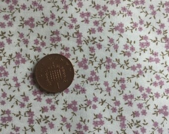 Cotton material - 10 x14 inch piece - pink  flower- suitable for DollHouse miniature projects
