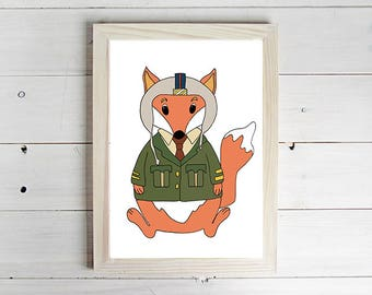 Pilot Fox - Unframed Art Print, Fox Drawing, Nursery Decor, Animal Wall Art, Children's Print, Kid's Bedroom, Home Decor, Playroom Art.