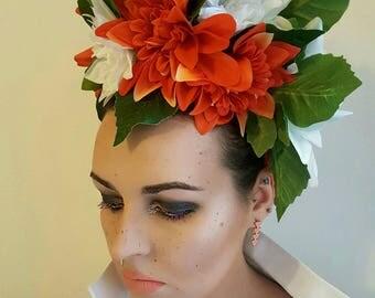 Orange and white dahlia headdress