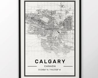 Calgary City Map Print, Modern Contemporary poster in sizes 50x70 fit for Ikea frame 19.5 x 27.5 All city available London, New York Paris
