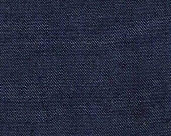 Dark Shade 4oz Lightweight Washed Blue Denim Fabric by Metre