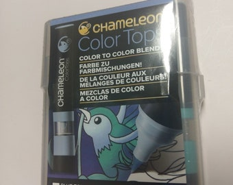 Chameleon Color Tops 5 Set BLUE TONES Alcohol Based CT4513 Mixing Chambers NEW