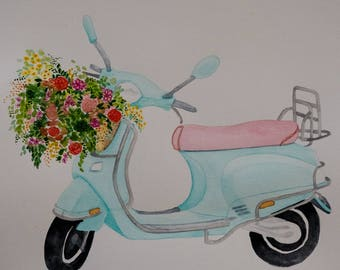 Original, One-of-a-kind Watercolour Art, A4 artwork, Watercolour Vespa With Flowers