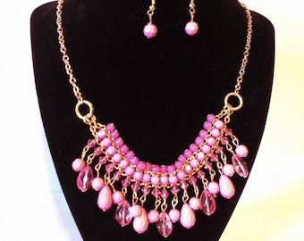 Pink & Gold 2 Pc. Costume Jewelry Set