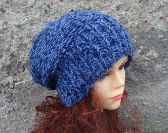 Sacking Winter Hat - Autumn Accessories - Slouchy Beanie Hat Oversized Hat  Chunky Knit - Men Slouchy jeans blue slouchy knit hat chunky hat