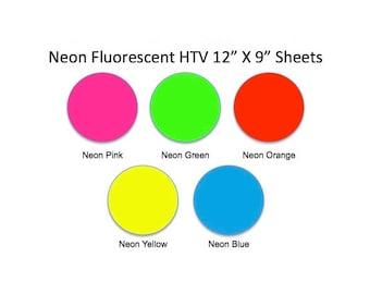"Neon HTV, Fluorescent htv Sheets, 12"" X 9"", Easy Weed, Heat Transfer Vinyl, HTV, DIY, T Shirt Vinyl, Heat Press Vinyl, Iron On Vinyl, Craft"