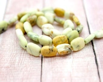 Natural Lemon Chrysoprase Flat Rectangle Gemstones Beads