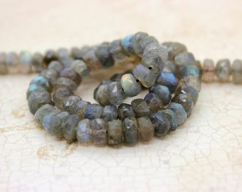 Natural Labradorite Faceted Rondelle Beads Gemstone (2mm x 4mm, 4mm x 6mm, 5mm x 8mm, 6mm x 10mm, 6mm x 12mm)