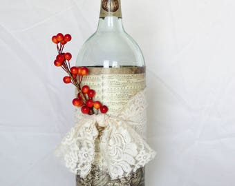 Pumpkin and Berry Wine Bottle Decoration