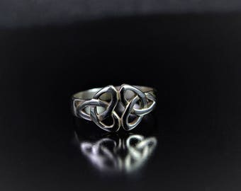 Sterling Silver Ring with two Celtic Trinity Knots