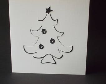 Handmade Christmas Card - tree with black baubles