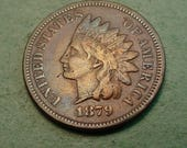 1879 Indian Head Cent VF   / Insurance included in SH  <>ET5359