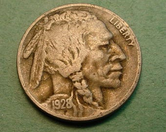 Buffalo Nickel 1928-D Very Fine<> FREE SH to United States<> # ET3541