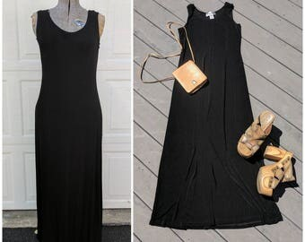 90's Black Grunge Stretch Maxi Dress, Small-Large