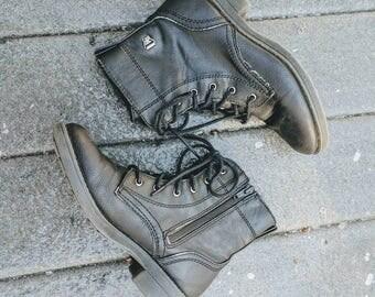 Vintage 90's Black Lace-Up Combat Boots, Size 5.5