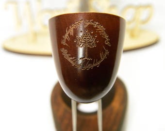 """Lord of the Rings Gandalf pipe """"Tree of Gondor in Ring""""/Churchwarden smoking pipe Tobacco pipe Hobbit pipe /Wooden Personalized gift +GIFT"""